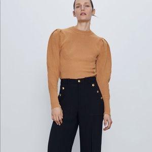 *NWT* Zara Camel Balloon Sleeve Knit Sweater